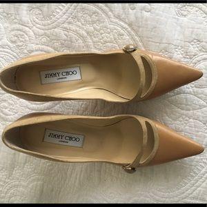 Jimmy Choo Italian Leather Tan 2 inch heel size 38